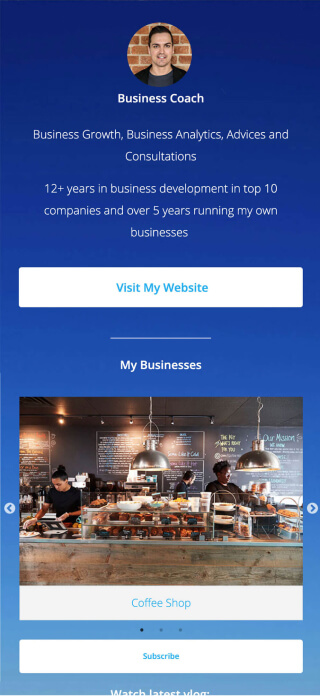 Business consultant page created with ContactInBio