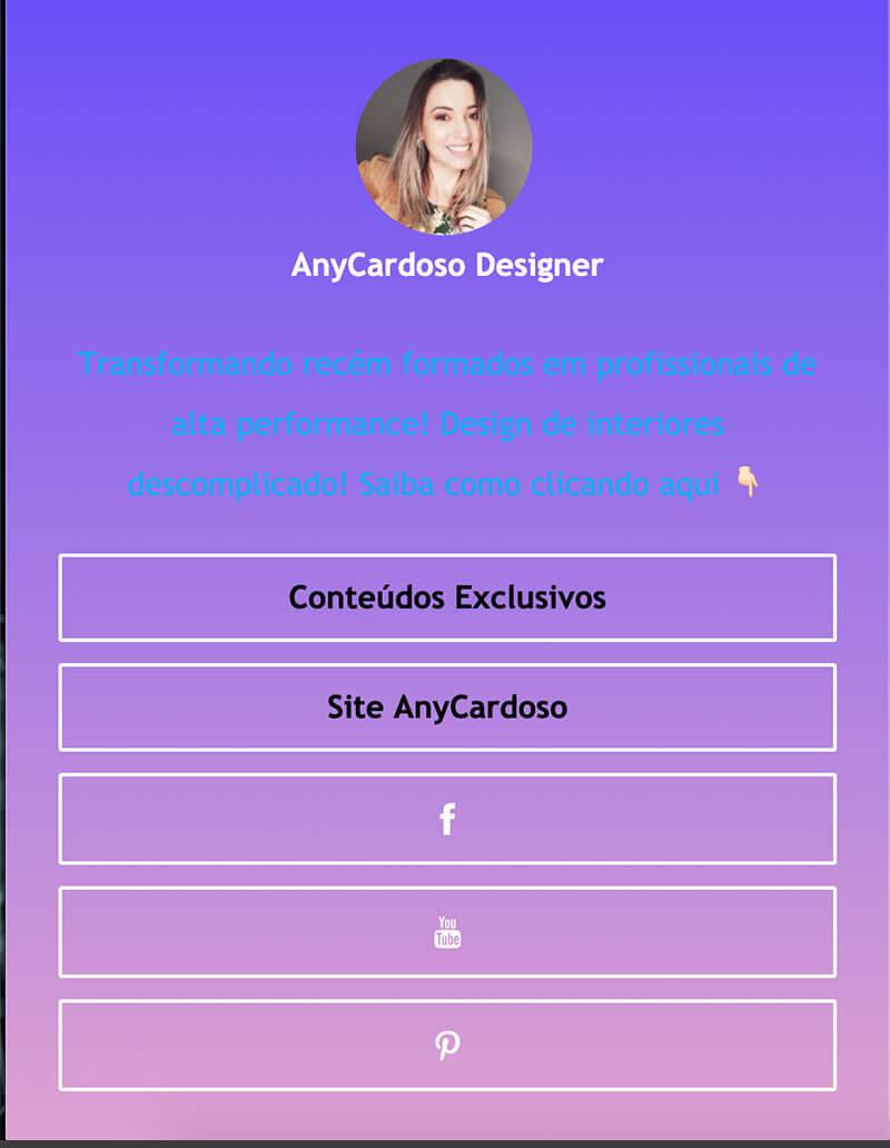 ContactInBio page of AnyCardoso Designer