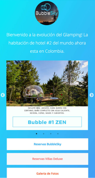 ContactInBio page of BubbleSky Glamping Colombia️