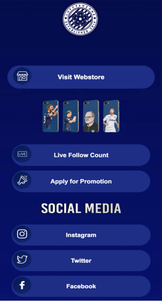 ContactInBio page of LUFC Fanzone
