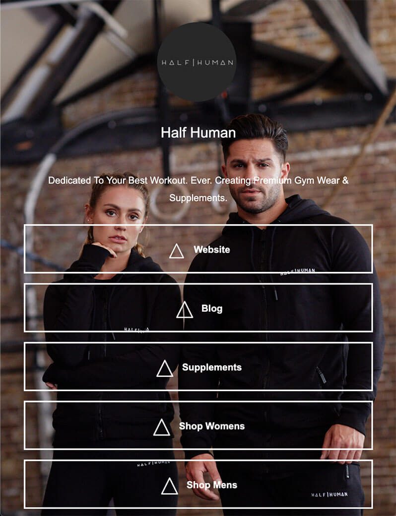 ContactInBio page of Premium Gym Wear & Supplements - Half Human